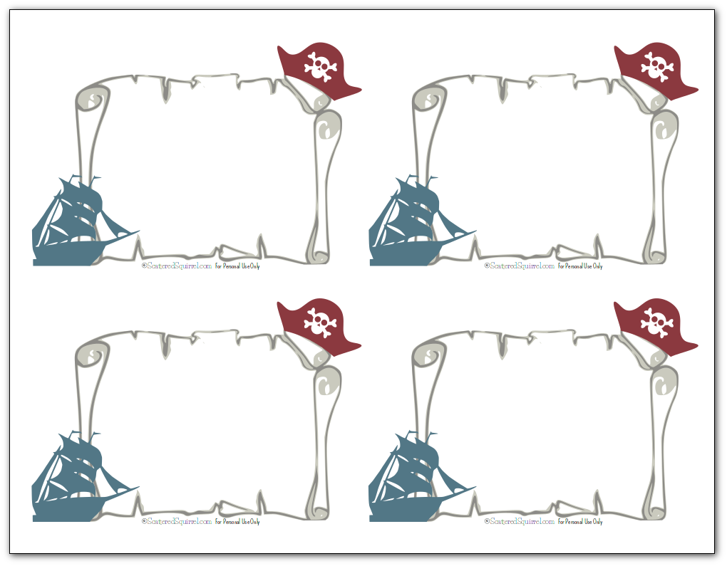 Use these blank ones to make your own pirate theme flashcards.