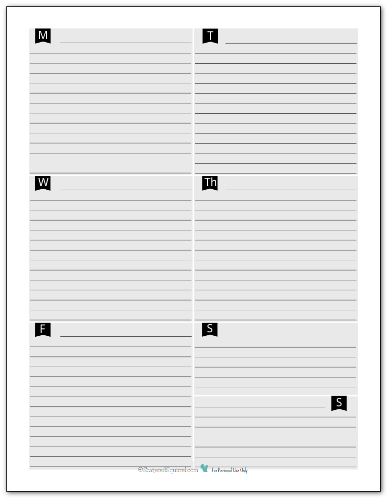 black and white weekly planner page
