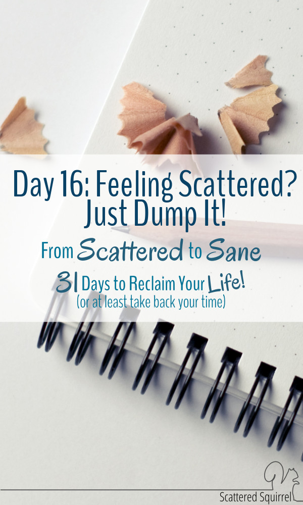 Sometimes feeling scattered makes our world scattered. Up is down and left is right! When it gets to be too much, it's time to dump it all out!