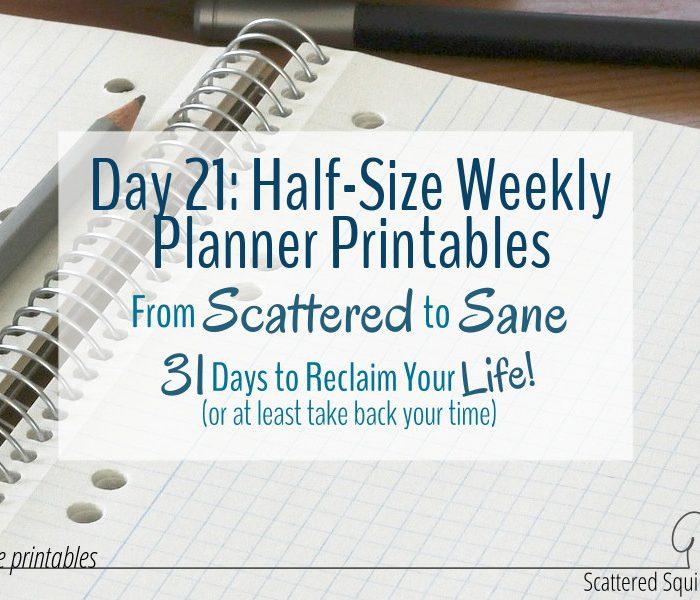 Half-Size Weekly Planner Printables