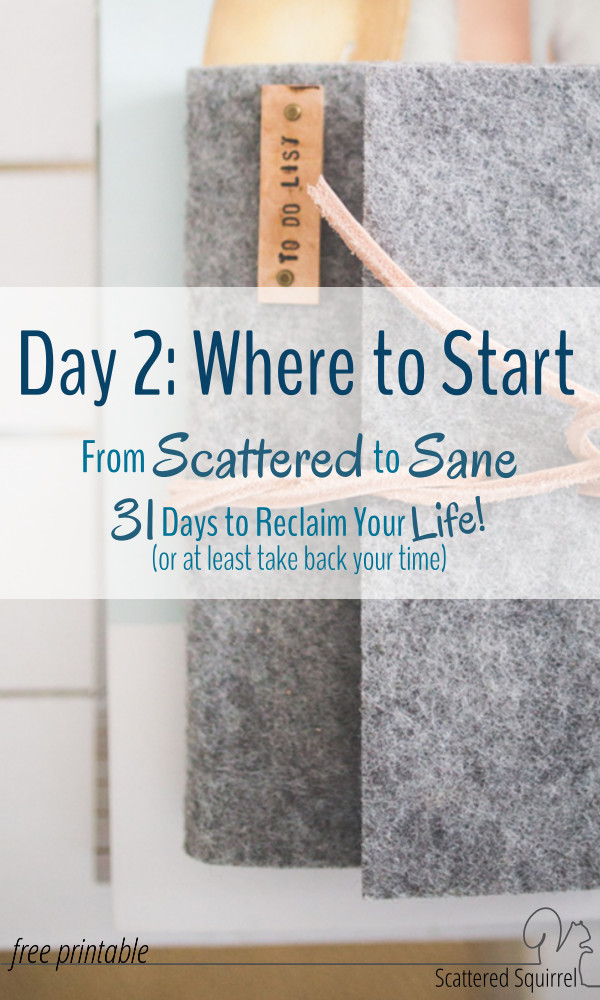 From Scattered to Sane - Day 2 Where to Start? Choosing the Beginning of Your Time Management Journey.