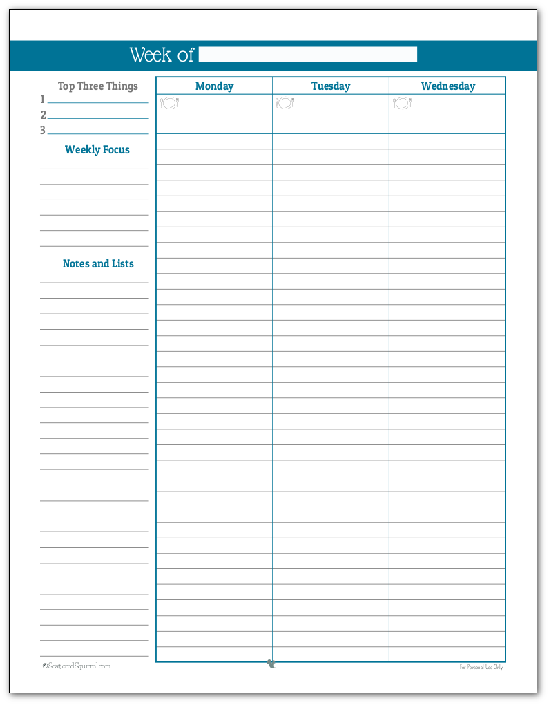 Full size weekly planner printable in Cobalt (Page One)