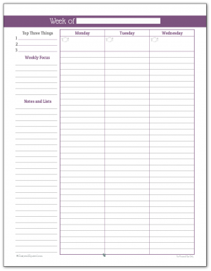 Full size weekly planner printable in Deep Lilac (Page One)