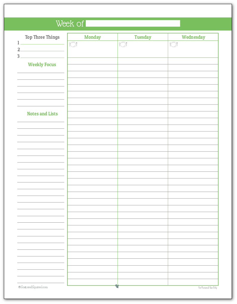 Full size weekly planner printable in Spring Grass (Page One)