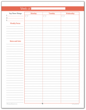 Full size weekly planner printable in Summer Orange (Page One)