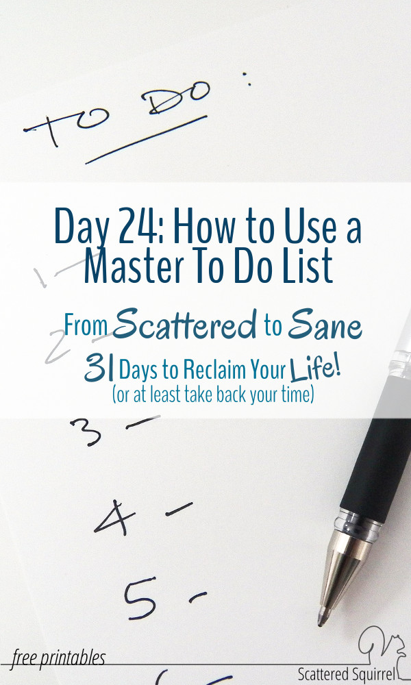 A master to do list can go a long way to taming a scattered brain. Use the handy printable to help create a to do list that will keep you on track