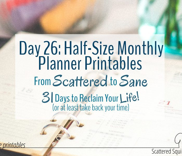 Half-Size Monthly Planner Printables