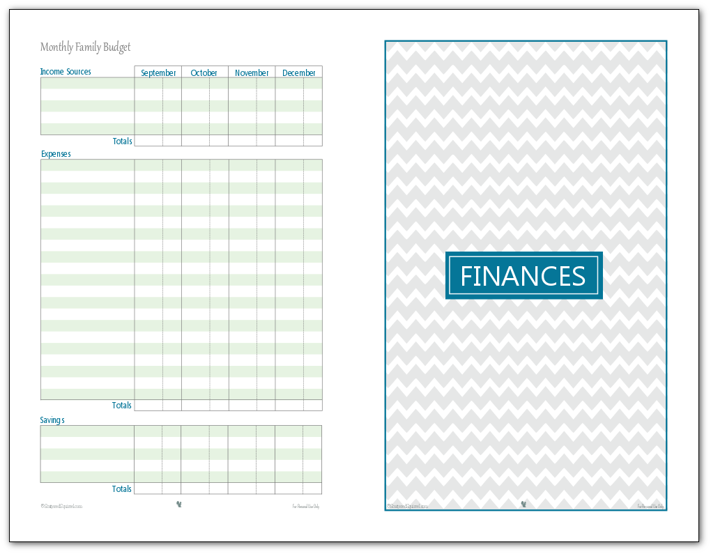 photograph relating to Budget Calendar Printable named Regular monthly Family members Finances Printables