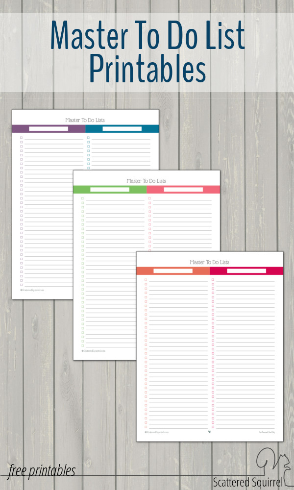 A collection of to do list printables designed to match the 2016 calendar colours and style