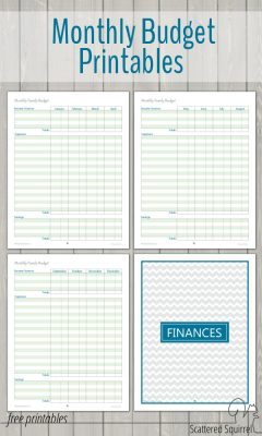 Monthly Family Budget Printables - collection