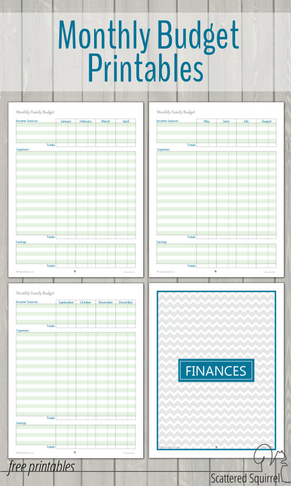 Monthly Budget Printables  Scattered Squirrel