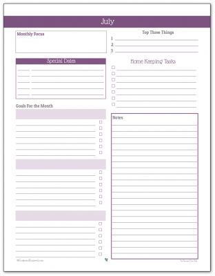 Monthly Planner Printable for July