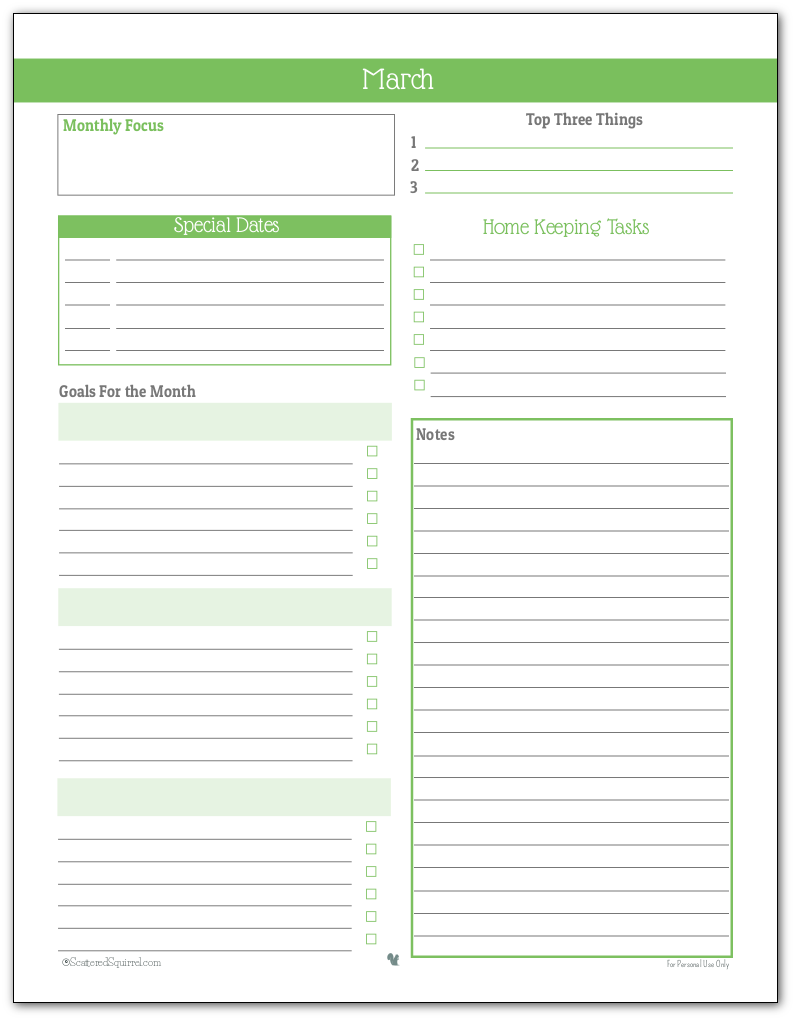 Monthly Planner Printable for March