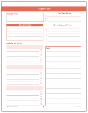 Monthly Planner Printable for November