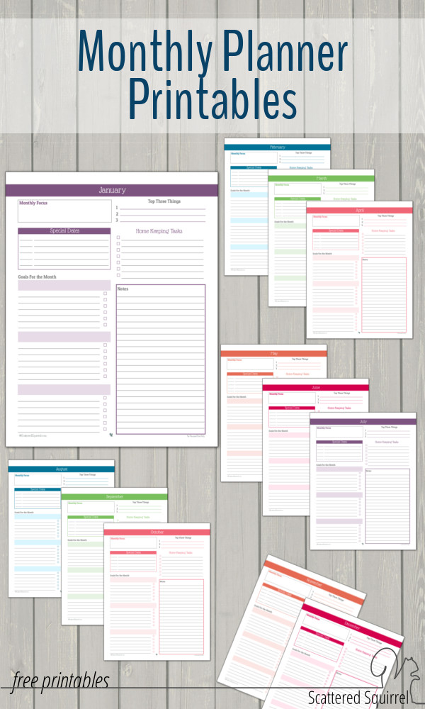 Monthly planner printables to help you plan your month and stay on track with your goals.