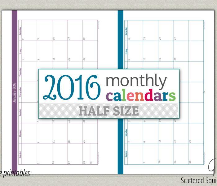 Update Half-Size 2016 Monthly Calendars