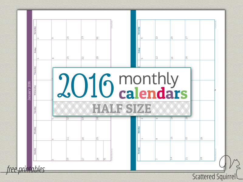 I've updated the half-size 2016 monthly calendars so that they are easier to print.