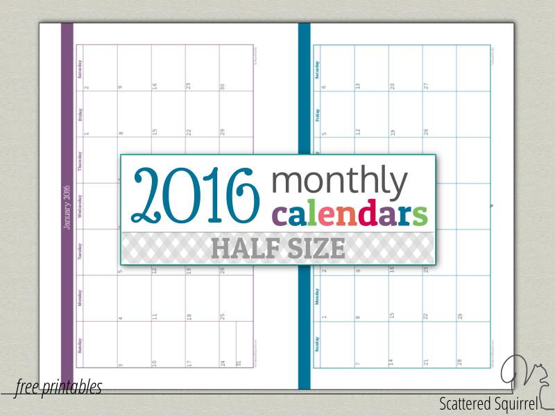 Weekly Calendar Update : Update half size monthly calendars