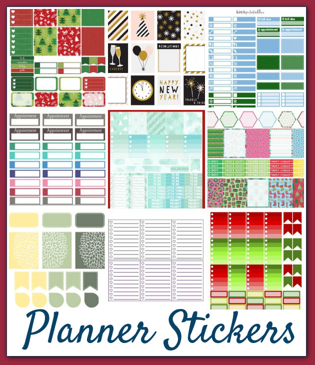 A peak at a few of the planner sticker sheets included in The Ultimate Holiday Bundle