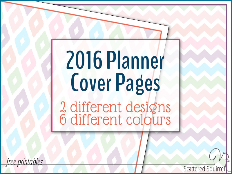 Printable 2016 planner cover pages