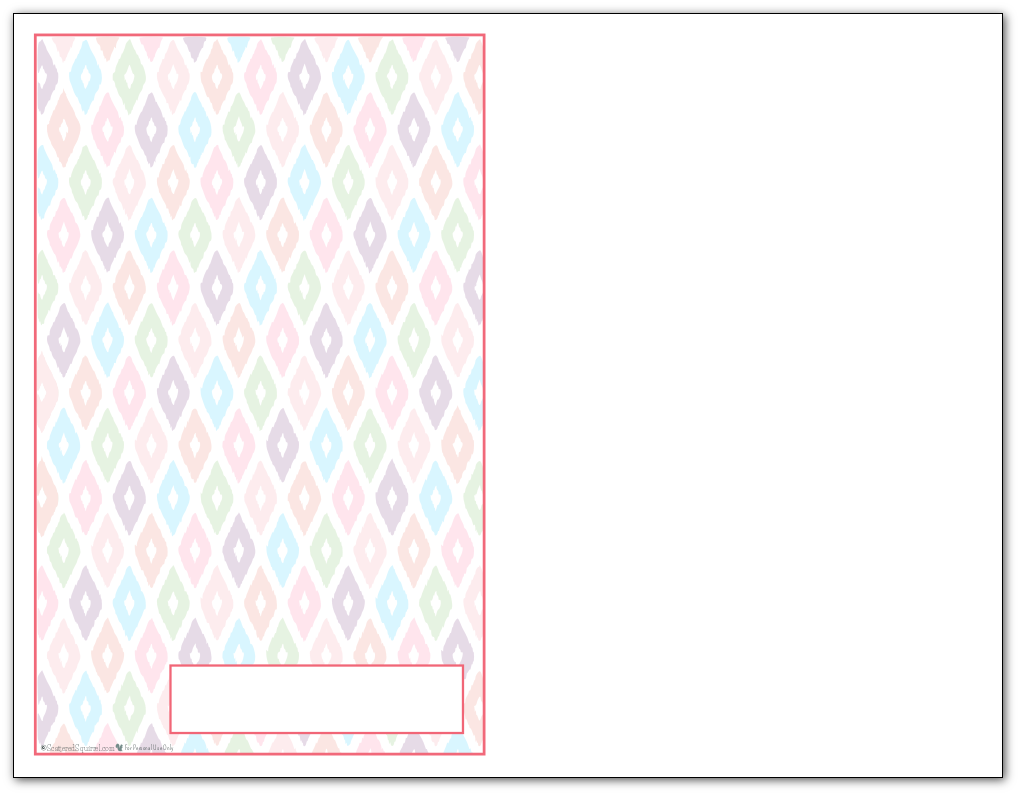 Half-Size Blush Ikat Pattern Printable 2016 Planner Cover Page