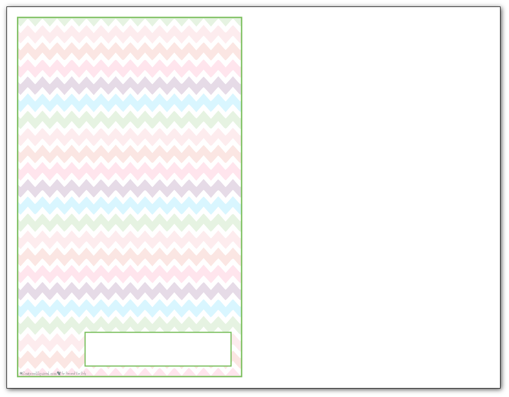 Half-Size Spring Green Zigzag Pattern Printable 2016 Planner Cover Page