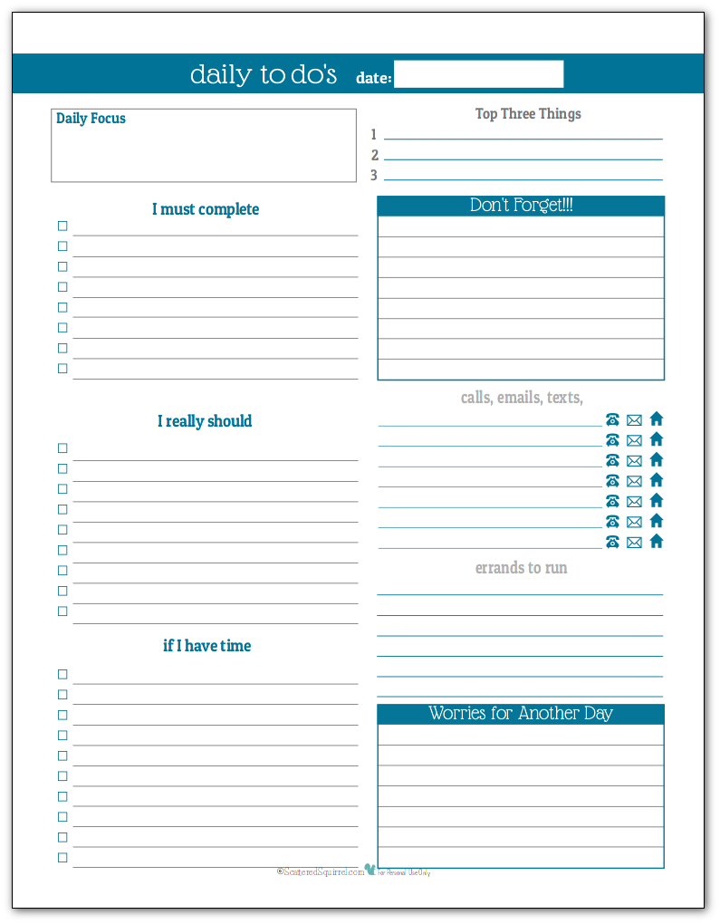 Cobalt - Daily To-Do list planner printable