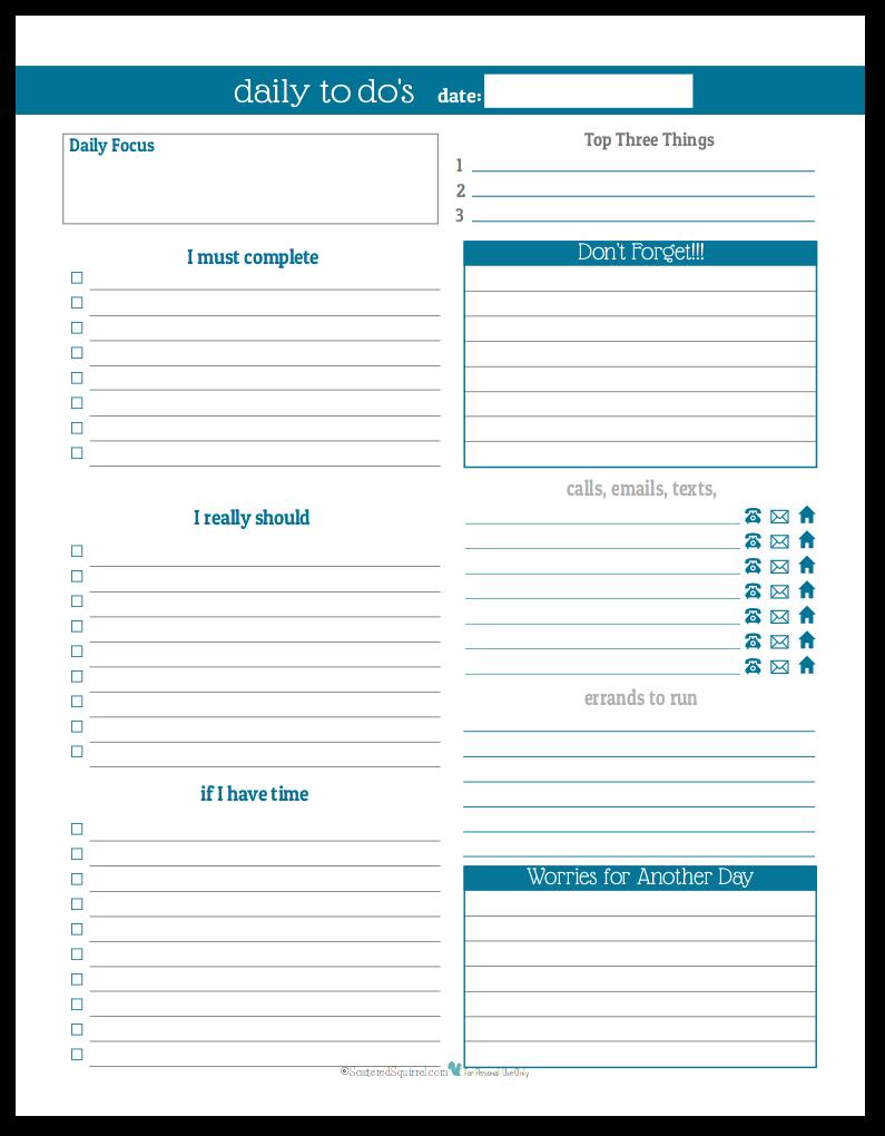 Cobalt - Daily To-Do list planner printable
