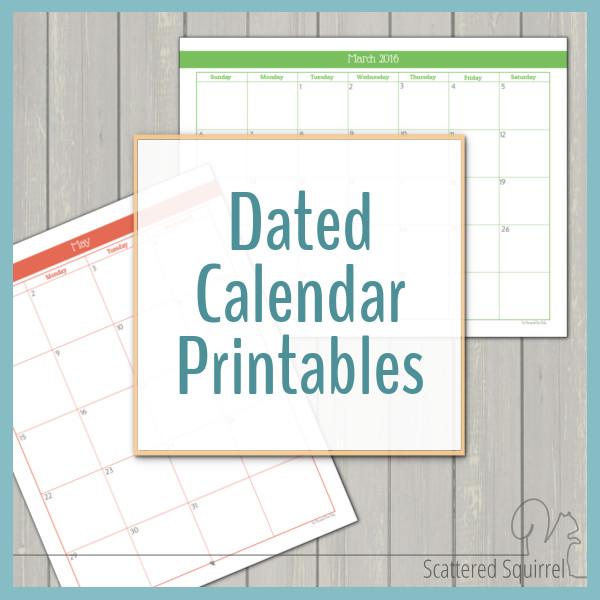 These dated calendars are a fun way to stay on track. They come in two different layouts in both full and half-size printables!