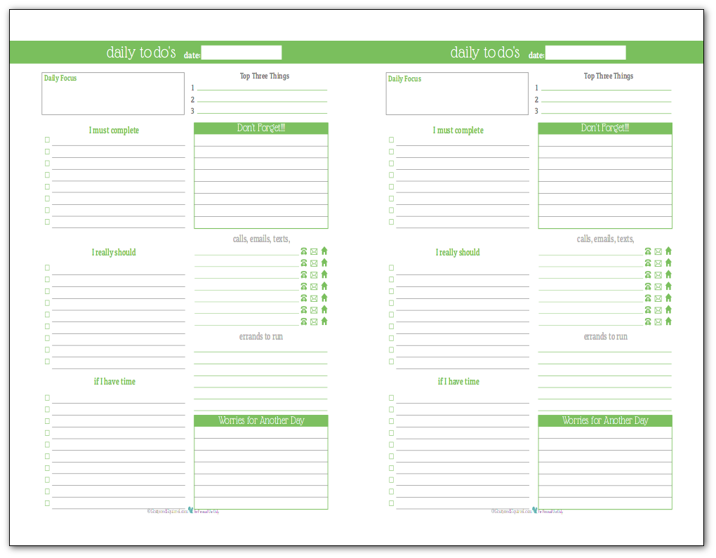 Spring Green - Half-Size Daily To-Do list planner printable