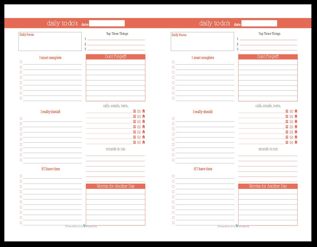 Summer Orange - Half-Size Daily To-Do list planner printable