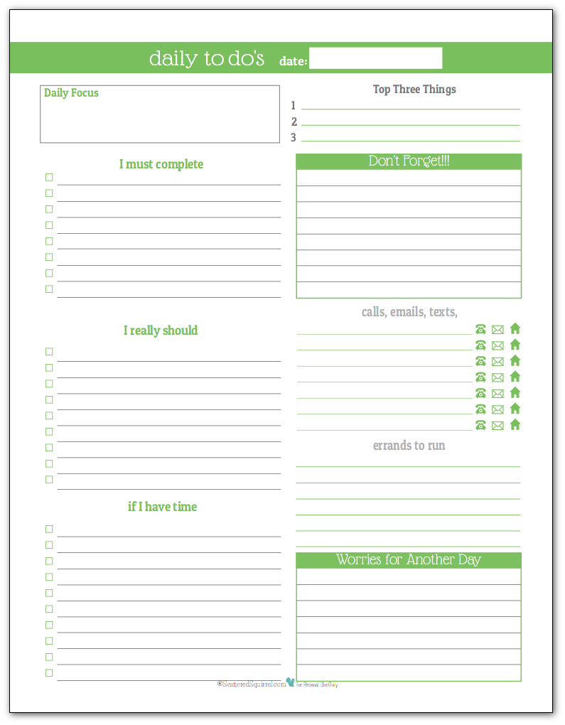 Spring Green - Daily To-Do list planner printable