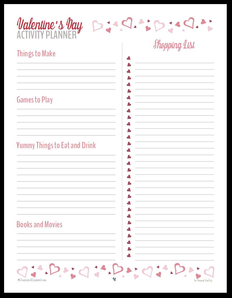 valentine's day activity planner. valentine's day planner printables