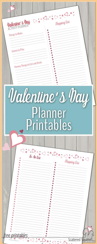 valentie's day printables, valentine's day planner printables, list printables