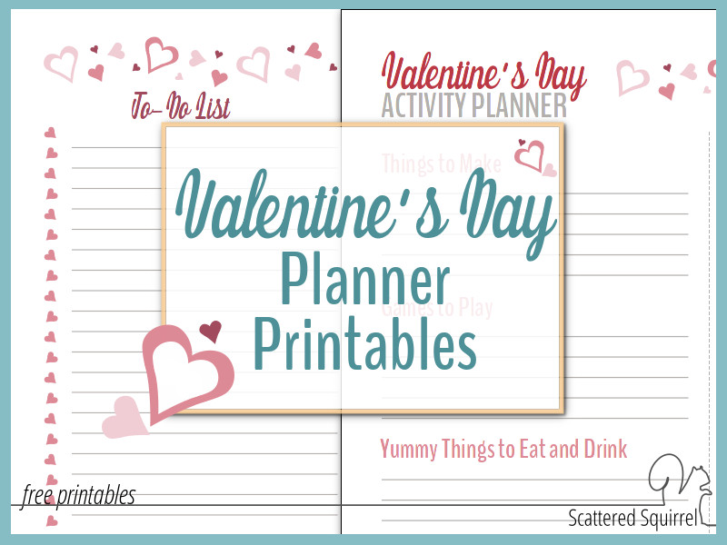 valentine's day planner printables, valentine's day themed list printable