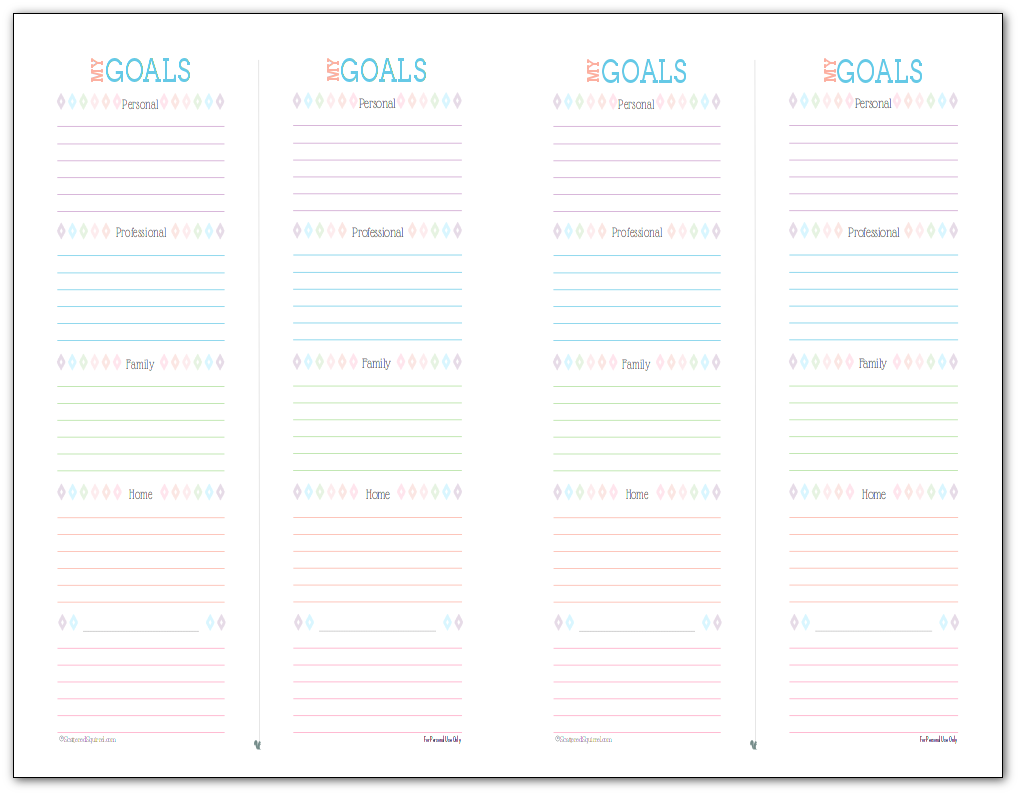 Designed for mini binders and arc junior notebooks these half-size Simple Goal Setting Printable to help you plan short term goals.