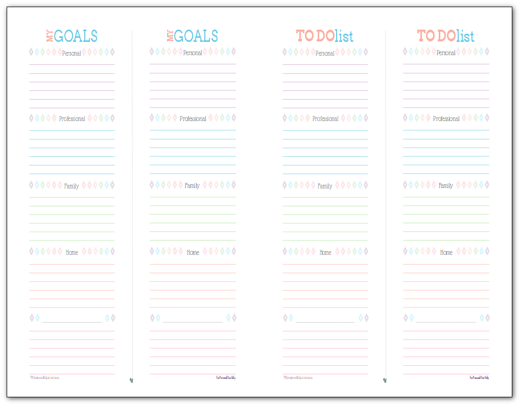 Goal Setting and To Do List printables combo designed to fit mini binder and arc junior planners