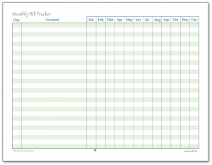 image regarding Create a Printable Monthly Bill Organizer called printable month to month invoice chart -