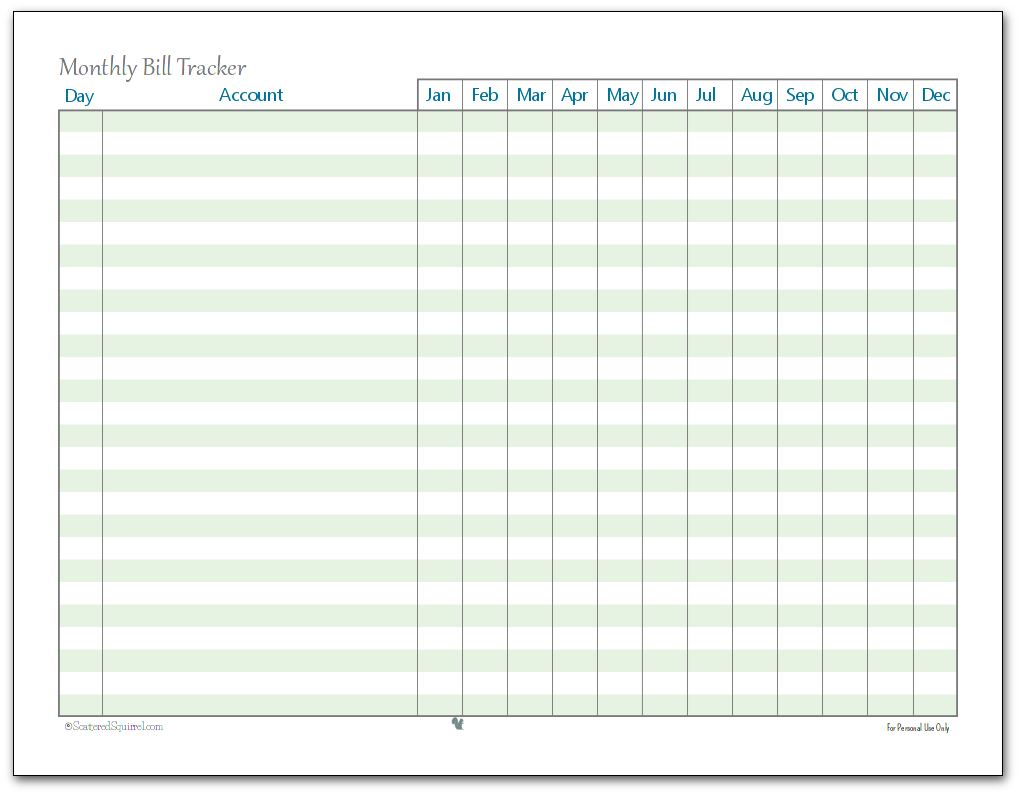 Persnickety image within monthly bill tracker printable