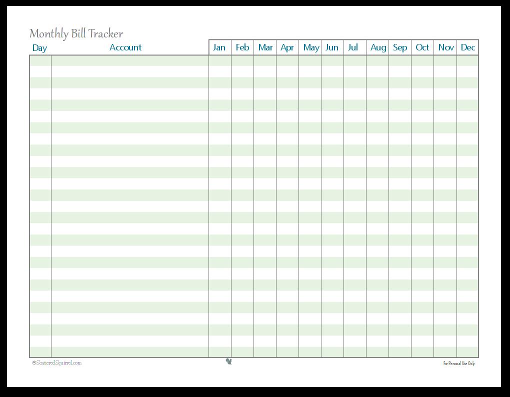 Monthly Bill Tracker printable, finances printables