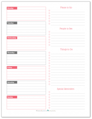 Blush - weekly overview planner printable