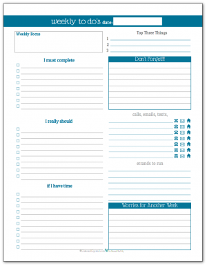 Cobalt - Weekly To-Do list planner printable