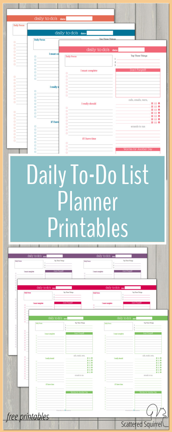 These DailyThese Daily To-Do List planner printables are a great addition to any planner. They help make planning those busier days a little easier. Best of all they match the colours used in the dated 2016 Calendar so you can create a planner that matches. To-Do List planner printables are a great addition to any planner. They help make planning those busier days a little easier.