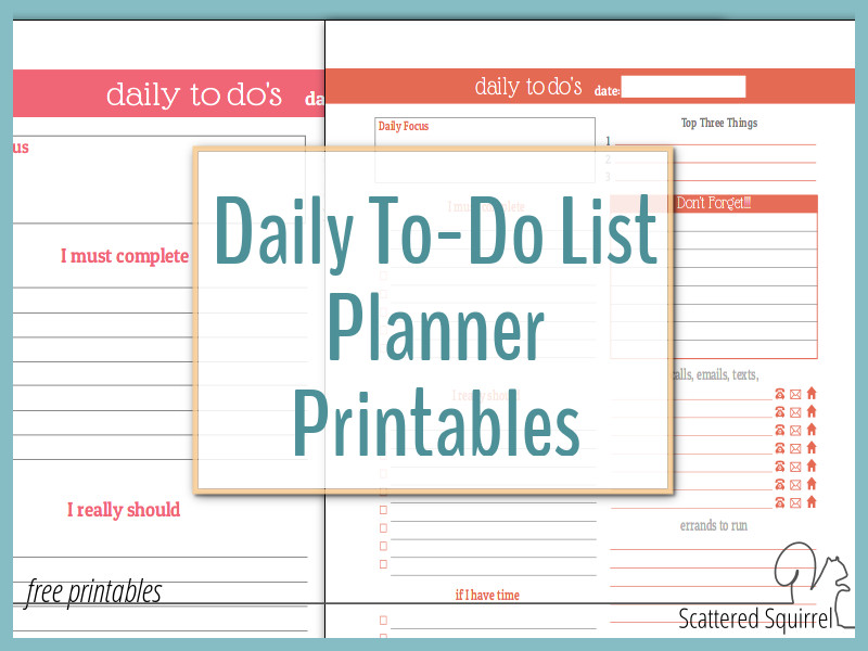 Daily To-Do List Planner Printables are a great way to plan those busy days without need a whole planner.