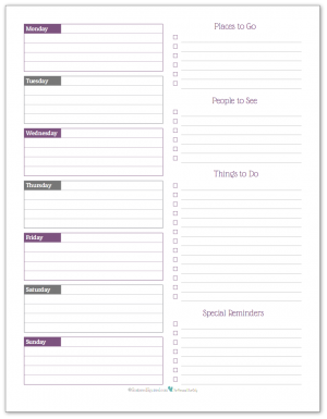 Deep Lilac - weekly overview planner printable