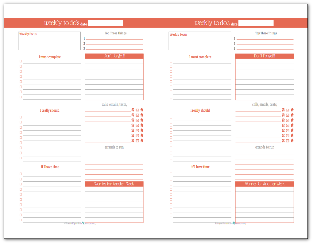 Summer Orange - Half-Size Weekly To-Do list planner printable