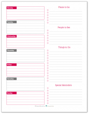 Raspberry - weekly overview planner printable