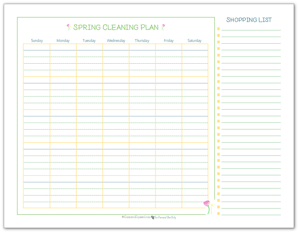 Spring cleaning planner and shopping list printable