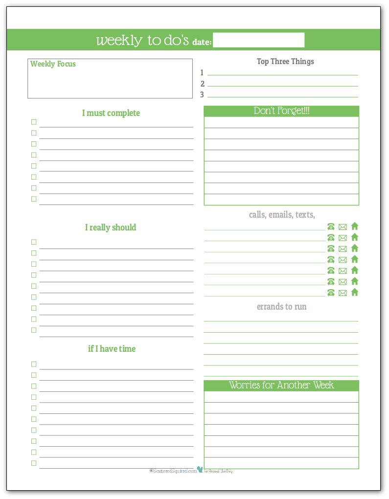 Spring Grass - Weekly To-Do list planner printable