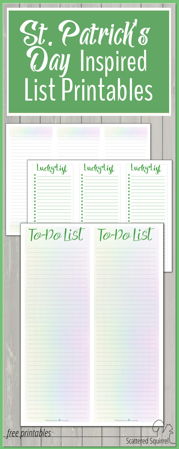 To do lists are always so much more fun when they're written on pretty notepaper. These list printables will be fantastic for St Patrick's Day, but the rainbow ones could be also be use all year long.